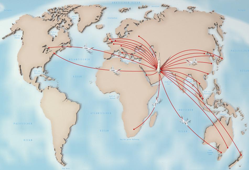 Illustration Emirates destinations