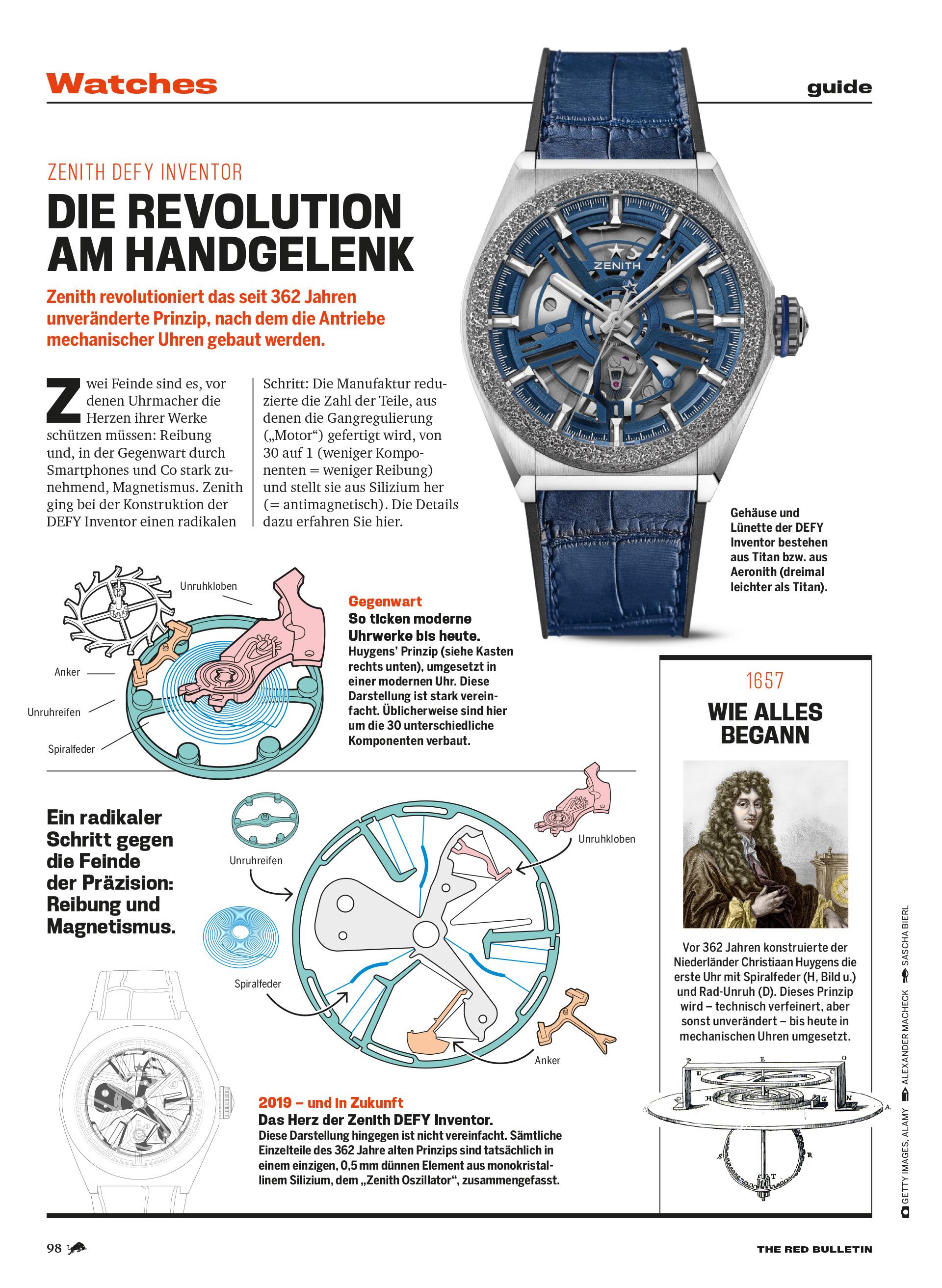 Illustration neuer mechanischer Antriebe für Uhren.