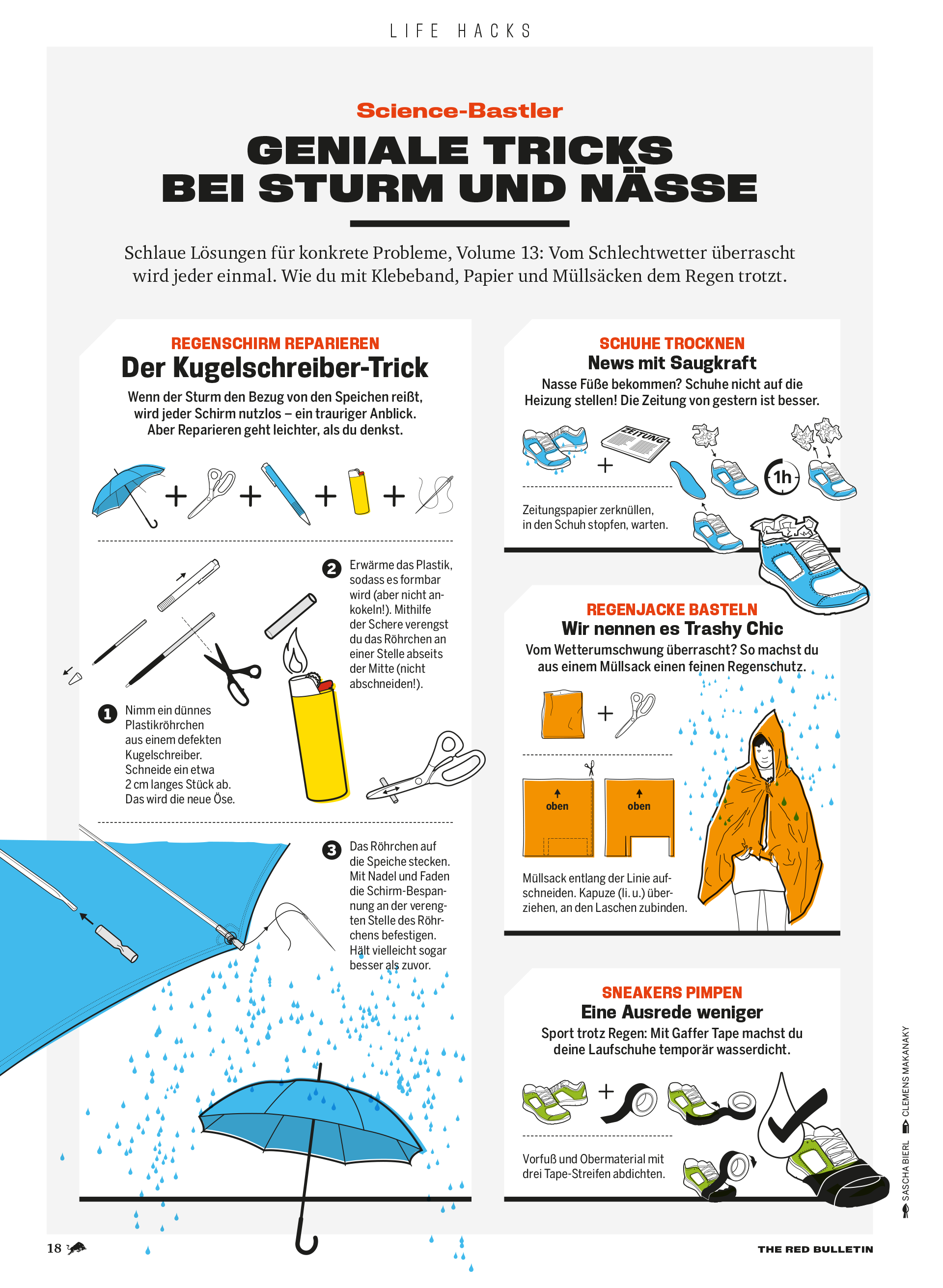 Illustrationen Lifehacks für Regentage